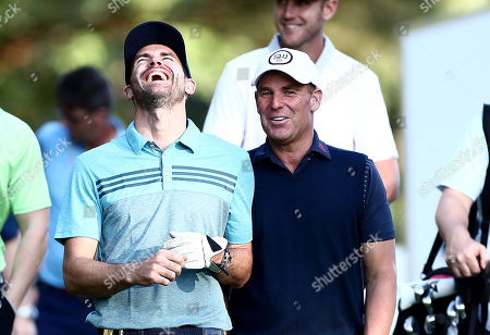Stock Photo of England Cricketer James Anderson shares a joke with Ex cricketer Shane Warne.