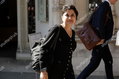 Britain's opposition Labour Party's shadow attorney general Shami Chakrabarti leaves during the hearing's lunch break at the Supreme Court in London, . The Supreme Court is set to decide whether Prime Minister Boris Johnson broke the law when he suspended Parliament on Sept. 9, sending lawmakers home until Oct. 14 ? just over two weeks before the U.K. is due to leave the European Union