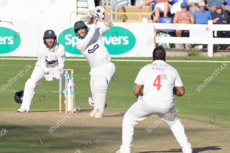Chris Wright hits Samit Patel for 4 during the Specsavers County Champ Div 2 match between Glamorgan County Cricket Club and Leicestershire County Cricket Club at the SWALEC Stadium, Cardiff