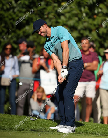 VIRGINIA WATER, ENGLAND. 18 SEPTEMBER 2019: England cricketer James Anderson competing in the ProAm of the BMW PGA Championship, European Tour Golf Tournament at Wentworth Golf Club, Virginia Water, Surrey, England.