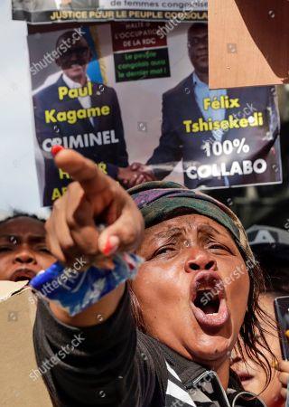 Members of the Democratic Republic of the Congo (DRC) Diaspora take part in a protest during the official visit of DRC President Tshisekedi in Brussels, Belgium, 17 September 2019. Demonstrators complained about DRC President Tshisekedi's alliance with former president Joseph Kabila.