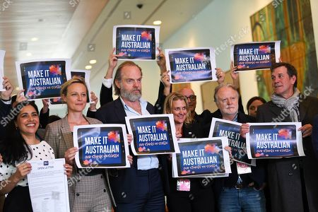 (L-R) Australian actors Leah Vandenberg, Hugo Weaving, Marta Dusseldorp and Rhys Muldoon attend a 'Make It Australian' campaign backed by the Australian Directors' Guild, Australian Writers' Guild, Media, Entertainment and Arts Alliance and Screen Producers Australia at Parliament House in Canberra, Australian Capital Territory, Australia, 17 September 2019.