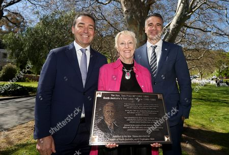 SA Premier Steven Marshall, former SA Premier Tom Price's Great Grand Daughter Stephanie McCarthy and SA Opposition leader Peter Malinauskas at the unveiling of the Tom Price Plaque at the Brownhill Creek Recreation Park in Adelaide, South Australia (SA), Australia, 17 September 2019.