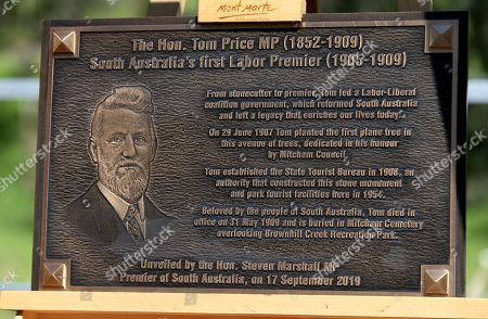 Stock Picture of The Tom Price Plaque is unveiled at the Brownhill Creek Recreation Park in Adelaide, South Australia (SA), Australia, 17 September 2019.