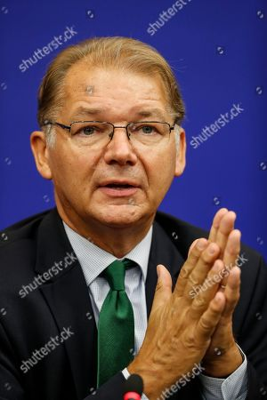 Belgium's Philippe Lamberts, of the group of the Greens/European Free Alliance, during a press briefing at the European Parliament in Strasbourg, eastern France, Tuesday, Sept.17, 2019