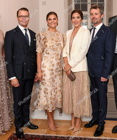 Prince Daniel, Crown Princess Victoria, Crown Prince Frederik and Crown Princess Mary arrive for a dinner at the Swedish ambassador's residence.