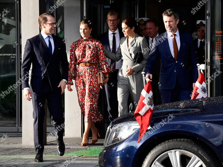 Crown Princess Victoria and Prince Daniel and Denmark's Crown Prince Frederik and Crown Princess Mary leave a summit at the Confederation of Danish Industry