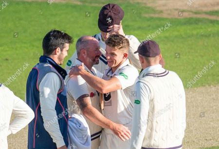 Stock Photo of Kent's Matthew Milnes is congratulated by Darren Stevens on taking 5 wickets in the innings.
