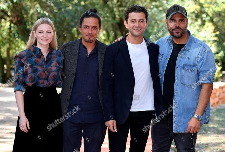 Jennifer Ulrich, Italian director Simone Catania, Italian actors Vinicio Marchioni and Marco D'Amore pose during the photocall for 'Drive Me Home' in Rome, Italy, 17 September 2019. The movie opens in Italian theaters on 26 September.