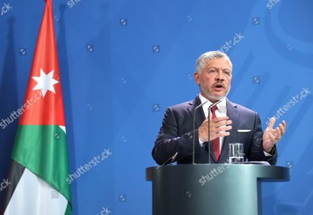 Jordan's King Abdullah II speaks during a press conference with German Chancellor Angela Merkel (unseen), at the German chancellery in Berlin, Germany, 17 September 2019. Jordan King Abdullah II is on a visit to Germany.