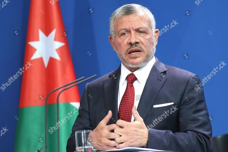 epa07848366 Jordan's King Abdullah II speaks during a press conference with German Chancellor Angela Merkel (unseen), at the German chancellery in Berlin, Germany, 17 September 2019. Jordan King Abdullah II is on a visit to Germany.
