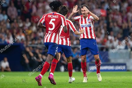 Stefan Savic of Atletico de Madrid celebrating after scoring a goal during the UEFA Champions League football match between Atletico de Madrid and Juventus FC played at the Wanda Metropolitano Stadium in Madrid, on September 18th 2019