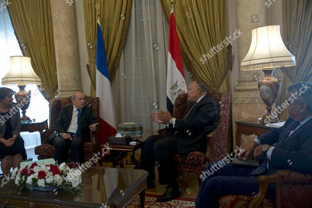 Jean-Yves Le Drian, Sameh Shoukry. French Foreign Minister Jean-Yves Le Drian, second left, meets with and Egypt's Foreign Minister Sameh Shoukry, second right, in Cairo, Egypt