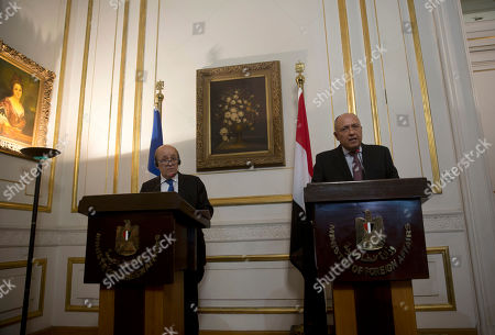 Jean-Yves Le Drian, Sameh Shoukry. French Foreign Minister Jean-Yves Le Drian, left, and Egypt's Foreign Minister Sameh Shoukry hold a joint press conference, in Cairo, Egypt