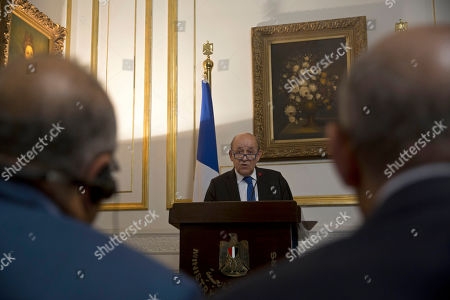 French Foreign Minister Jean-Yves Le Drian speaks during a joint press conference with Egypt's Foreign Minister Sameh Shoukry, in Cairo, Egypt