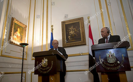 French Foreign Minister Jean-Yves Le Drian, left, and Egypt's Foreign Minister Sameh Shoukry hold a joint press conference, in Cairo, Egypt