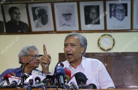 General Secretary Jammu Kashmir State Communist Party of India- Marxist (CPI-M) Mohammad Yousuf Tarigami addresses a press conference at the party headquarters in New Delhi, India, . Tarigami was put under house arrest on Aug. 5 when Indian Prime Minister Narendra Modi's Hindu nationalist-led government in New Delhi stripped Jammu and Kashmir of semi-autonomy and statehood, creating two federal territories. He was shifted to Delhi on Sept. 9 for treatment at the All India Institute of Medical Sciences after an order by India's apex court