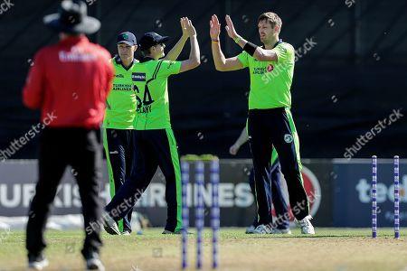 Ireland vs Scotland. Ireland's Boyd Rankin celebrates with teammates
