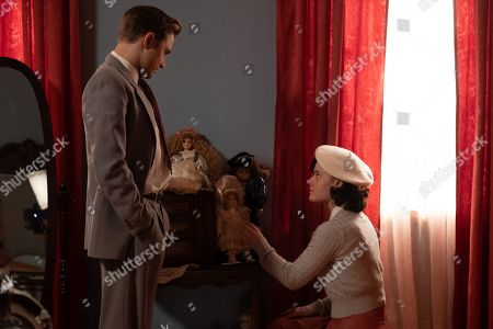 Stock Picture of Max Lloyd-Jones as Tony and Jennifer Laporte as Leigh