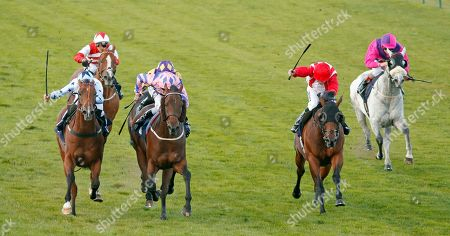 HAN SOLO BERGER (2nd left, Tom Queally) beats EXCELLENT GEORGE (left) and FOXY FOREVER (2nd right) in The Injured Jockeys Fund Handicap Yarmouth