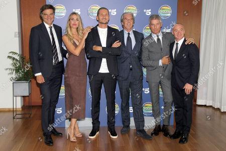 Stock Photo of Giancarlo Scheri, Ilary Blasi, Alvin, Massimo Porta, Giorgio Restelli and Jury Chechi