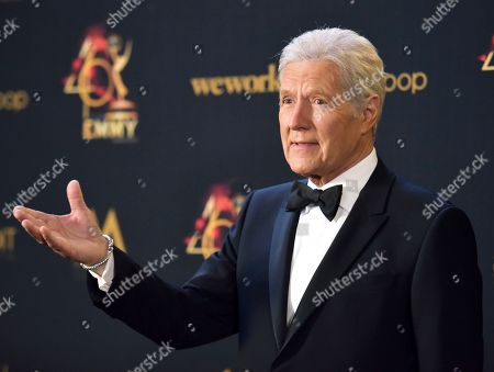 Alex Trebek poses in the press room at the 46th annual Daytime Emmy Awards at the Pasadena Civic Center in Pasadena, Calif. Trebek said Tuesday, Sept. 17, that he's had a setback in his battle with pancreatic cancer and is undergoing chemotherapy again