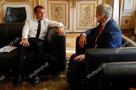 French President Emmanuel Macron meets European Parliament member Dacian Ciolos of the Renew Europe party at the Elysee Palace in Paris, France, 17 September 2019.