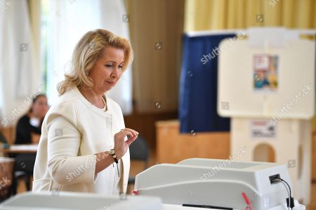 Single voting day. Election to the 7th convocation of the Moscow City Duma. Spouse of Russian Prime Minister Dmitry Medvedev, Svetlana Medvedeva, during a vote at polling station No. 2760 in the Ramenki district of Moscow.