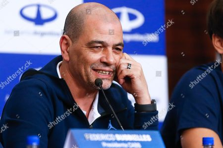 Stock Image of Head coach of Argentina's national basketball, Sergio Hernandez, attends a press conference held on the team's arrival to the International Airport of Ezeiza following the FIBA Basketball World Cup, in Buenos Aires, Argentina, 17 September 2019. Spain defeated Argentina in the FIBA Basketball World Cup final held in Beijing, China, on 15 September.