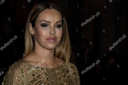 Katie Piper poses for photographers ahead of the Julien Macdonald Spring/Summer 2020 fashion week runway show in London