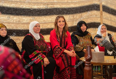 Queen Rania visits a group of women from the Balqawi tribes, Amman