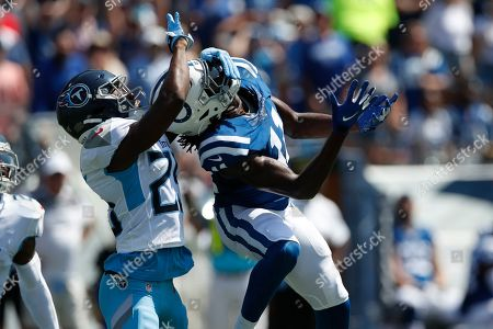 Adoree' Jackson, Deon Cain. Tennessee Titans cornerback Adoree' Jackson (25) grabs the face of Indianapolis Colts wide receiver Deon Cain (11) during an NFL football game, in Nashville, Tenn. The Colts won the game 19-17