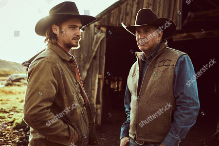Luke Grimes as Kayce Dutton and Kevin Costner as John Dutton