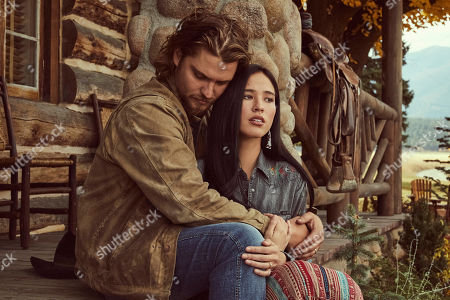 Luke Grimes as Kayce Dutton and Kelsey Chow as Monica Long-Dutton