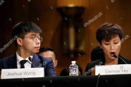 Joshua Wong, Denise Ho. Hong Kong activist Joshua Wong, left, listens as activist and singer Denise Ho, testifies at a congressional hearing, on Capitol Hill in Washington
