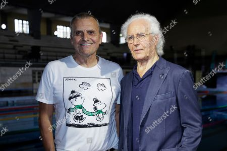 Jean-Charles de Castelbajac, Luciano Benetton. Designer Jean-Charles de Castelbajac, left, and Luciano Benetton, co founder of the Benetton group, pose for photographers at the conclusion of the Benetton Spring-Summer 2020 collection, unveiled during the fashion week, in Milan, Italy