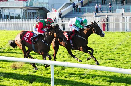 GALWAY DIAMOND HILL and Colin Keane (far side) win the Ardilaun Hotel Oyster Stakes from CAMPHOR and Shane Foley (near side).