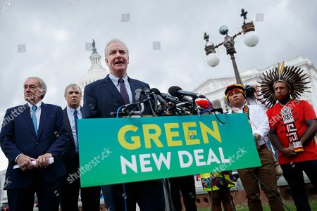 US Democratic Senator from Maryland Chris Van Hollen delivers remarks during a Senate Climate Change Task Force press conference at the US Capitol in Washington, DC, USA, 17 September 2019. The press conference kicks off a week of activities culminating in a climate strike Friday, 20 September, in which workers and students around the world will walk out to demand more action to fight global warming.