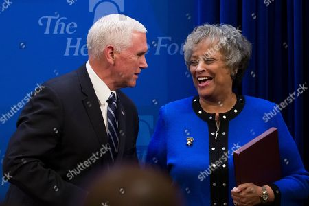 Mike Pence, Kay Coles James. Vice President Mike Pence greets Heritage Foundation President Kay Coles James before speaking about the U.S.-Mexico-Canada trade agreement at the Heritage Foundation, in Washington