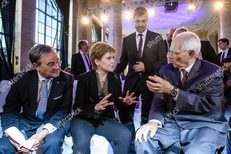 Scotland's First Minister Nicola Sturgeon (2-L) and the president of the German Parliament 'Bundestag', Wolfgang Schaeuble (R),speak with each other next to North Rhine-Westphalia State Premier Armin Laschet (L) and the Mayor of regional state capital Potsdam Mike Schubert (3-L) prior to the award ceremony of the international media conference M100 Sanssouci Colloquium, in Potsdam, Brandenburg state, Germany, 17 September 2019. The international forum brings together Europe's top editors, commentators and media owners (print, broadcasting and internet) alongside key public figures to assess the role and impact of the media in international affairs and to promote democracy and freedom of expression and speech. Scotland's First Minister Nicola Sturgeon is awarded for her standing against the Brexit and her commitment to the European Union.