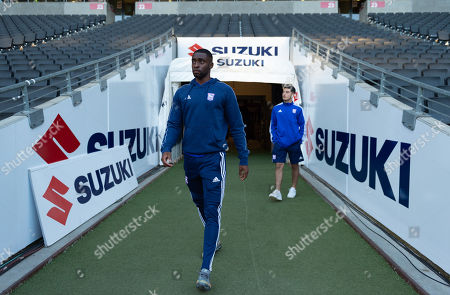 Kane Vincent-Young of Ipswich Town and Armando Dobra of Ipswich Town inspect the pitch before the match
