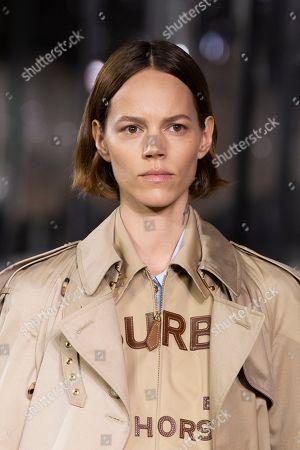 Stock Picture of Freja Beha Erichsen on the catwalk, fashion detail