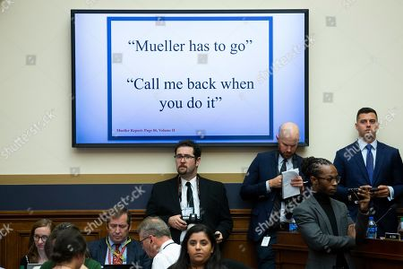 A monitor displays alleged quotes of US President Donald J. Trump in the former special counsel Robert Mueller report; during testimony from former Trump campaign manager Corey Lewandowski (not pictured) during the House Judiciary Committee hearing entitled, 'Presidential Obstruction of Justice and Abuse of Power', on Capitol Hill in Washington, DC, USA, 17 September 2019. Former White House Staff Secretary Rob Porter and former White House Deputy Chief of Staff Rick Dearborn, who were both subpoenaed to appear beside Corey Lewandowski, did not show up. The White House has claimed Lewandowski is protected by executive privelege and has been directed not to answer questions regarding conversations on government matters with President Trump or senior administration officials. The committee is seeking information on possible obstruction of justice that former special counsel Robert Mueller detailed in his report.