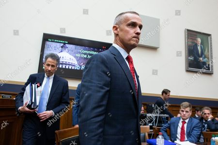 Former Trump campaign manager Corey Lewandowski (R) returns from a break with attorney Peter Chavkin (L) while appearing before the House Judiciary Committee hearing entitled, 'Presidential Obstruction of Justice and Abuse of Power', on Capitol Hill in Washington, DC, USA, 17 September 2019. Former White House Staff Secretary Rob Porter and former White House Deputy Chief of Staff Rick Dearborn, who were both subpoenaed to appear beside Corey Lewandowski, did not show up. The White House has claimed Lewandowski is protected by executive privelege and has been directed not to answer questions regarding conversations on government matters with President Trump or senior administration officials. The committee is seeking information on possible obstruction of justice that former special counsel Robert Mueller detailed in his report.