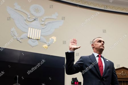 Former Trump campaign manager Corey Lewandowski swears in to testify before the House Judiciary Committee hearing entitled, 'Presidential Obstruction of Justice and Abuse of Power', on Capitol Hill in Washington, DC, USA, 17 September 2019. Former White House Staff Secretary Rob Porter and former White House Deputy Chief of Staff Rick Dearborn, who were both subpoenaed to appear beside Corey Lewandowski, did not show up. The White House has claimed Lewandowski is protected by executive privelege and has been directed not to answer questions regarding conversations on government matters with President Trump or senior administration officials. The committee is seeking information on possible obstruction of justice that former special counsel Robert Mueller detailed in his report.