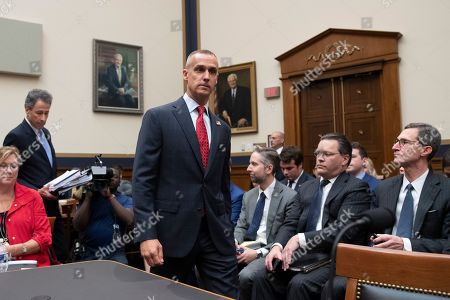 Former Trump campaign manager Corey Lewandowski (C) arrives to testify before the House Judiciary Committee hearing entitled, 'Presidential Obstruction of Justice and Abuse of Power', on Capitol Hill in Washington, DC, USA, 17 September 2019. Former White House Staff Secretary Rob Porter and former White House Deputy Chief of Staff Rick Dearborn, who were both subpoenaed to appear beside Corey Lewandowski, did not show up. The White House has claimed Lewandowski is protected by executive privelege and has been directed not to answer questions regarding conversations on government matters with President Trump or senior administration officials. The committee is seeking information on possible obstruction of justice that former special counsel Robert Mueller detailed in his report.