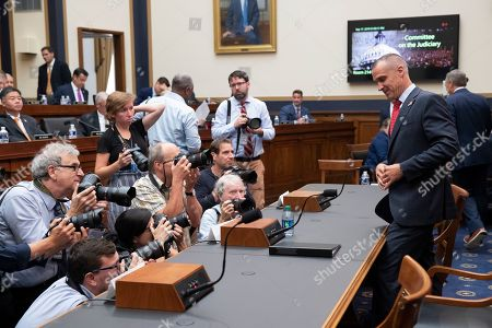 Former Trump campaign manager Corey Lewandowski (R) takes his seat to appear before the House Judiciary Committee hearing entitled, 'Presidential Obstruction of Justice and Abuse of Power', on Capitol Hill in Washington, DC, USA, 17 September 2019. Former White House Staff Secretary Rob Porter and former White House Deputy Chief of Staff Rick Dearborn, who were both subpoenaed to appear beside Corey Lewandowski, did not show up. The White House has claimed Lewandowski is protected by executive privelege and has been directed not to answer questions regarding conversations on government matters with President Trump or senior administration officials. The committee is seeking information on possible obstruction of justice that former special counsel Robert Mueller detailed in his report.