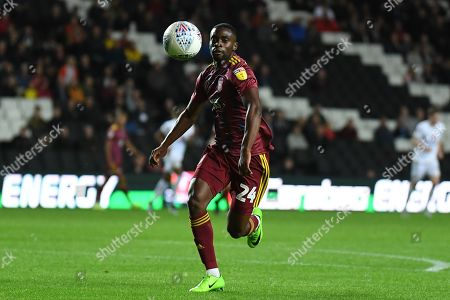 Ipswich Town defender Kane Vincent-Young (24) keeps his eye on the ball during the EFL Sky Bet League 1 match between Milton Keynes Dons and Ipswich Town at stadium:mk, Milton Keynes