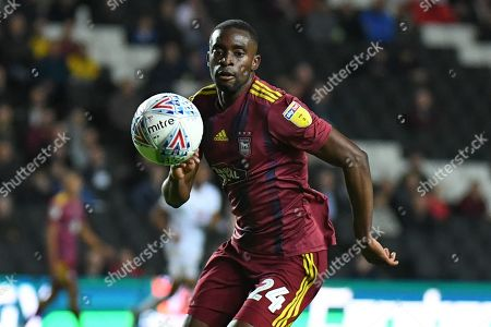 Ipswich Town defender Kane Vincent-Young (24) has eyes on the ball during the EFL Sky Bet League 1 match between Milton Keynes Dons and Ipswich Town at stadium:mk, Milton Keynes
