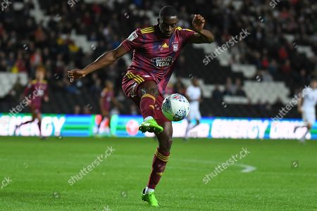 Ipswich Town defender Kane Vincent-Young (24) clears the ball during the EFL Sky Bet League 1 match between Milton Keynes Dons and Ipswich Town at stadium:mk, Milton Keynes